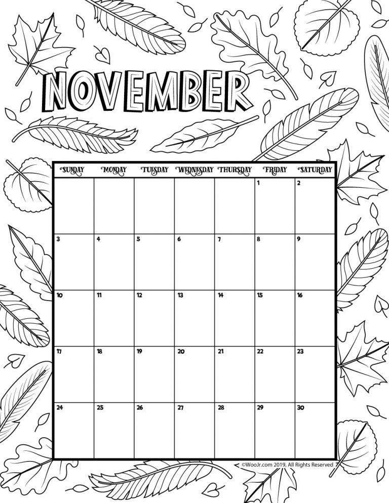 November Calendar 2021 Coloring Pages Calendar For 2021 Coloring Pages Free Printable Coloring Pages Online