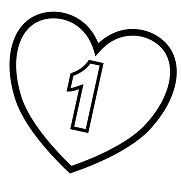 Number 1 in Heart Coloring Page
