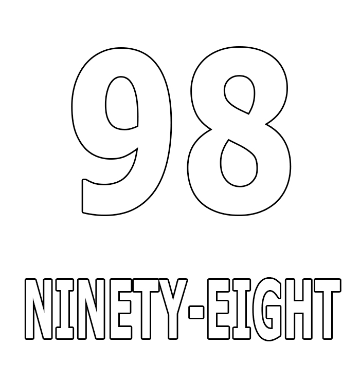 Number Ninety-Eight Coloring Page