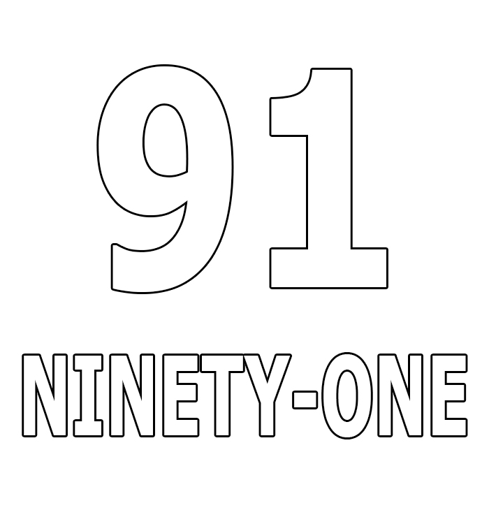 Number Ninety-One Coloring Page