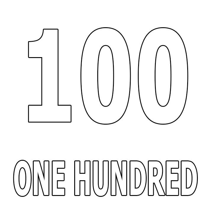 Number One-Hundred Coloring Page
