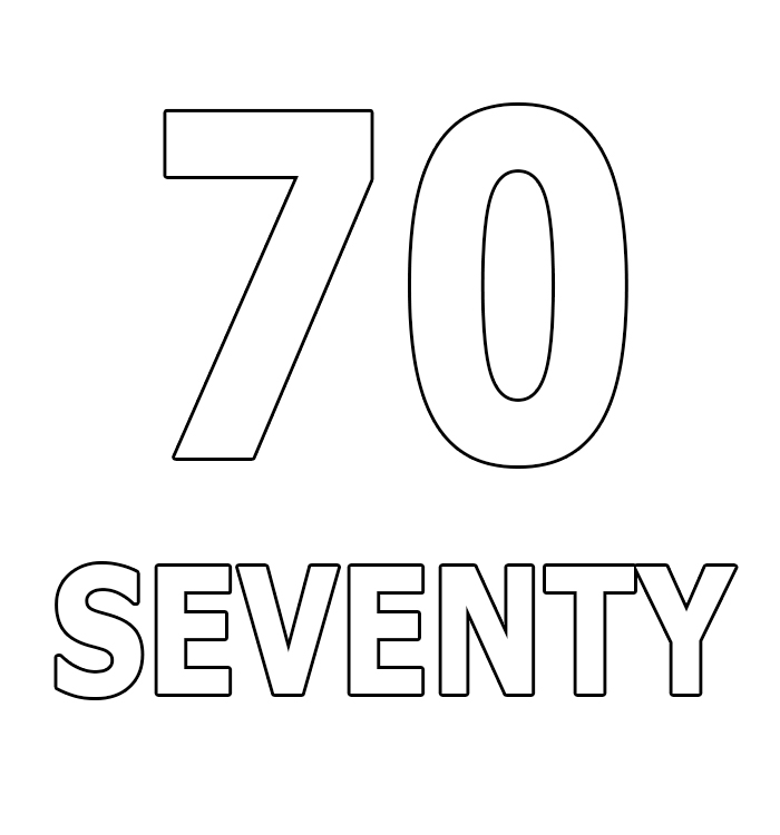 Number Seventy Coloring Page