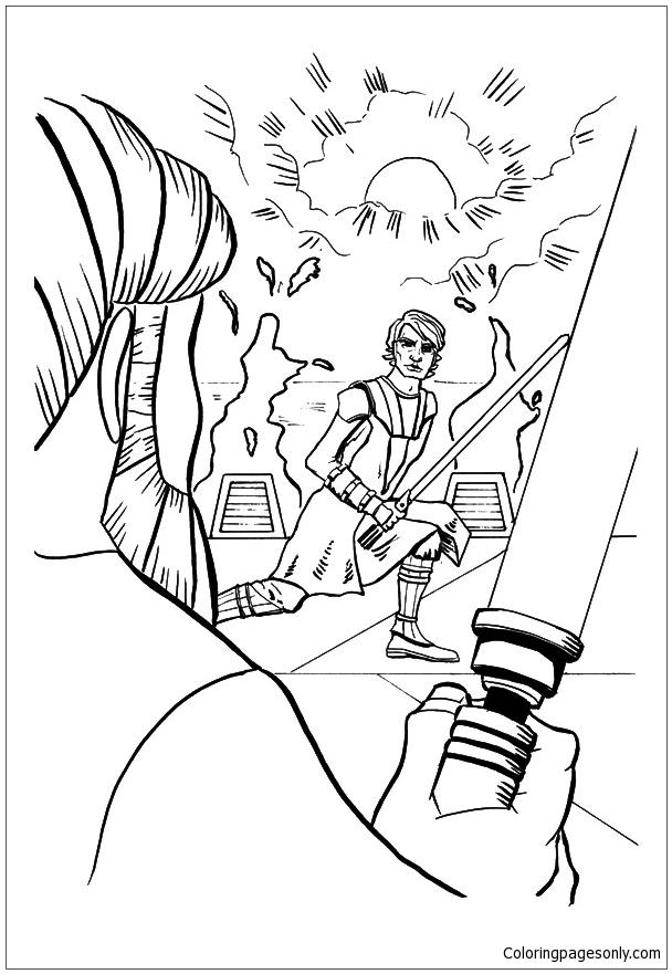 Obi Wan and Padawan Anakin Coloring Page - Free Coloring ...