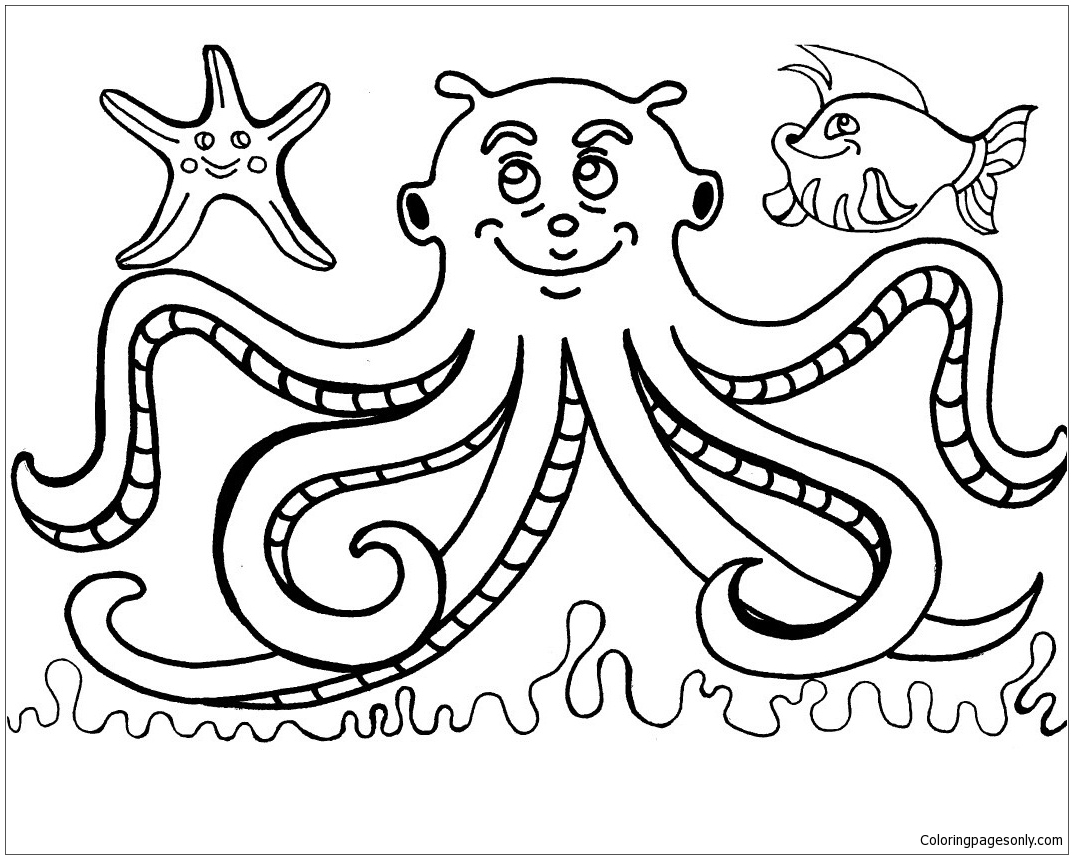 Octopus And Fish Coloring Page