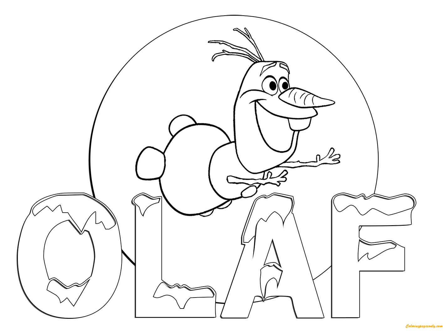Olaf Coloring Pages Online. Olaf Flying Coloring Page  Free Pages Online