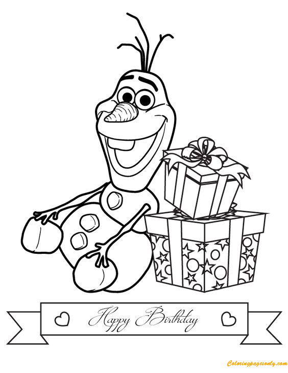 Olaf Coloring Pages Online. Olaf Happy Birthday Coloring Page  Free Pages Online