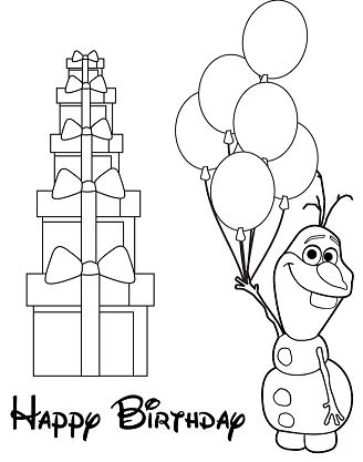 Olaf Holding Balloons Coloring Page