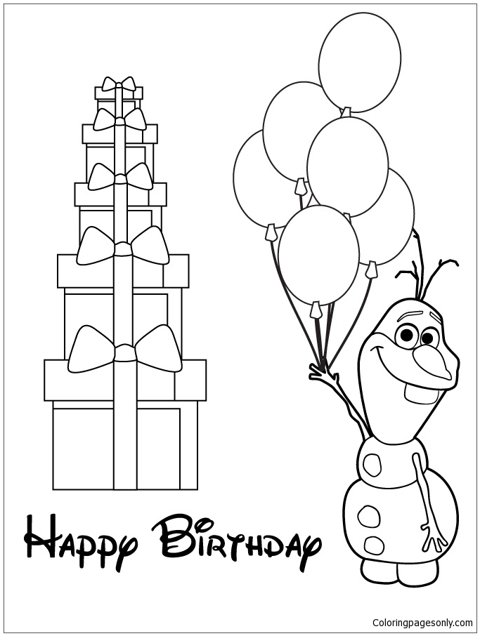 Olaf Holding Balloons Coloring Page Free Coloring Pages