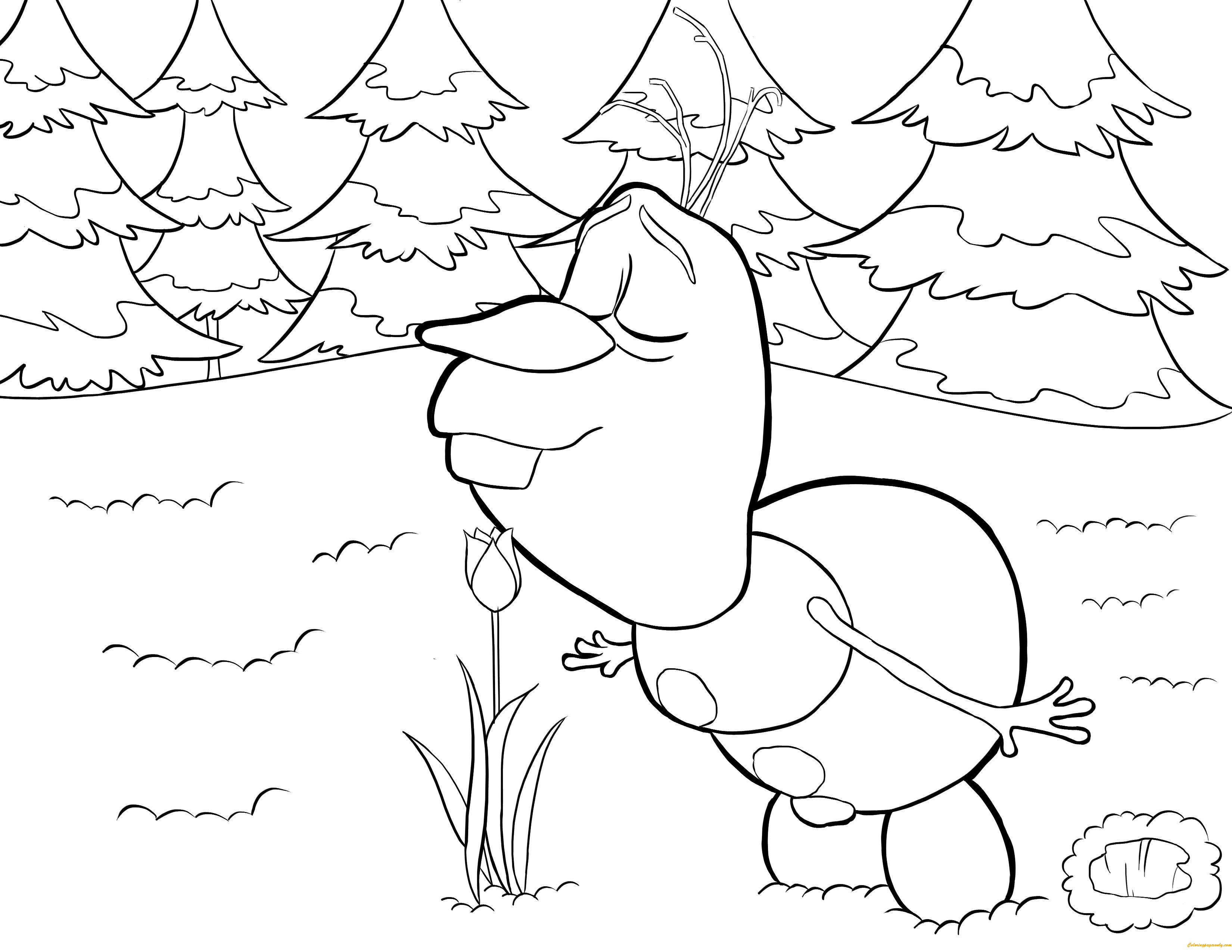Olaf Likes Flower Coloring Page - Free Coloring Pages Online