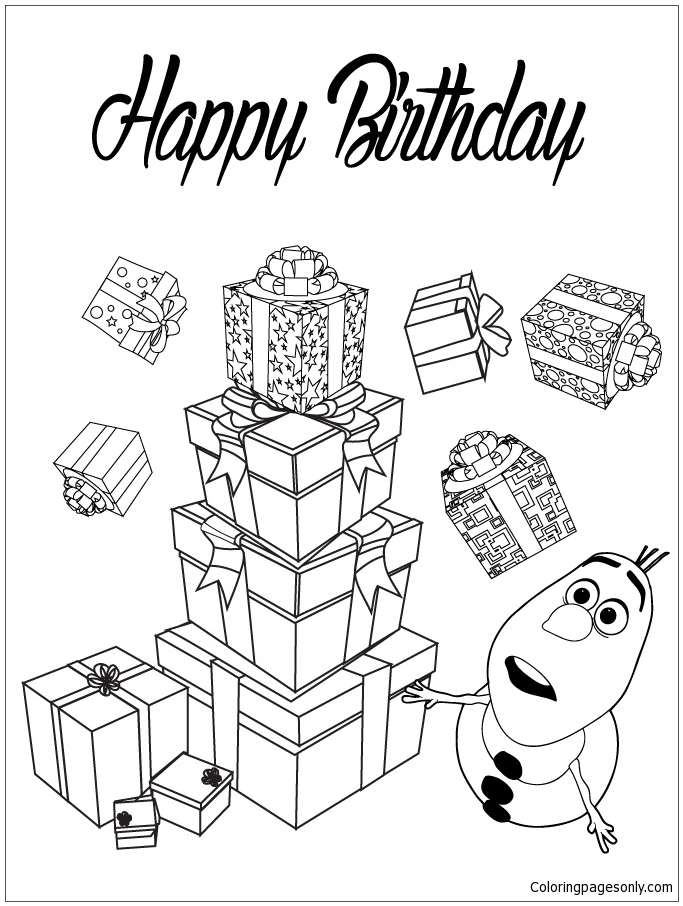 Olaf With Presents Coloring Page