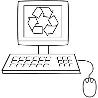 Old Computer With The Recycling Symbol
