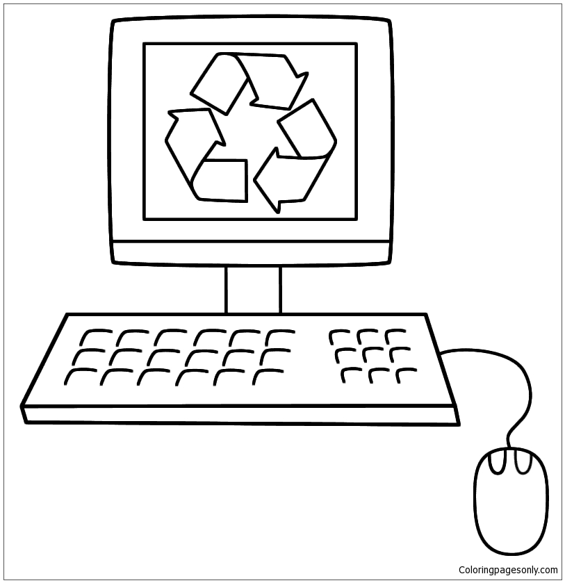 Old Computer With The Recycling Symbol Coloring Page