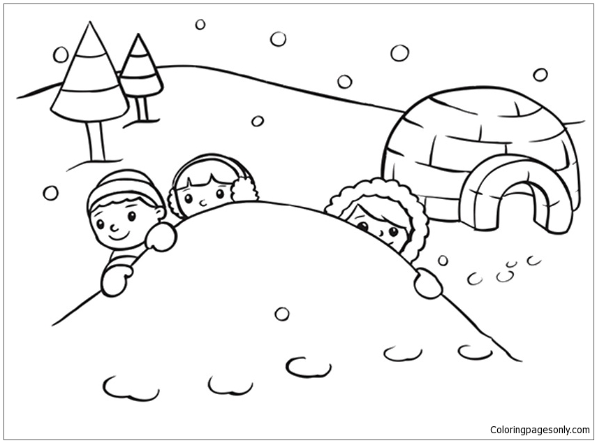 On A Snowy Day Coloring Page - Free Coloring Pages Online