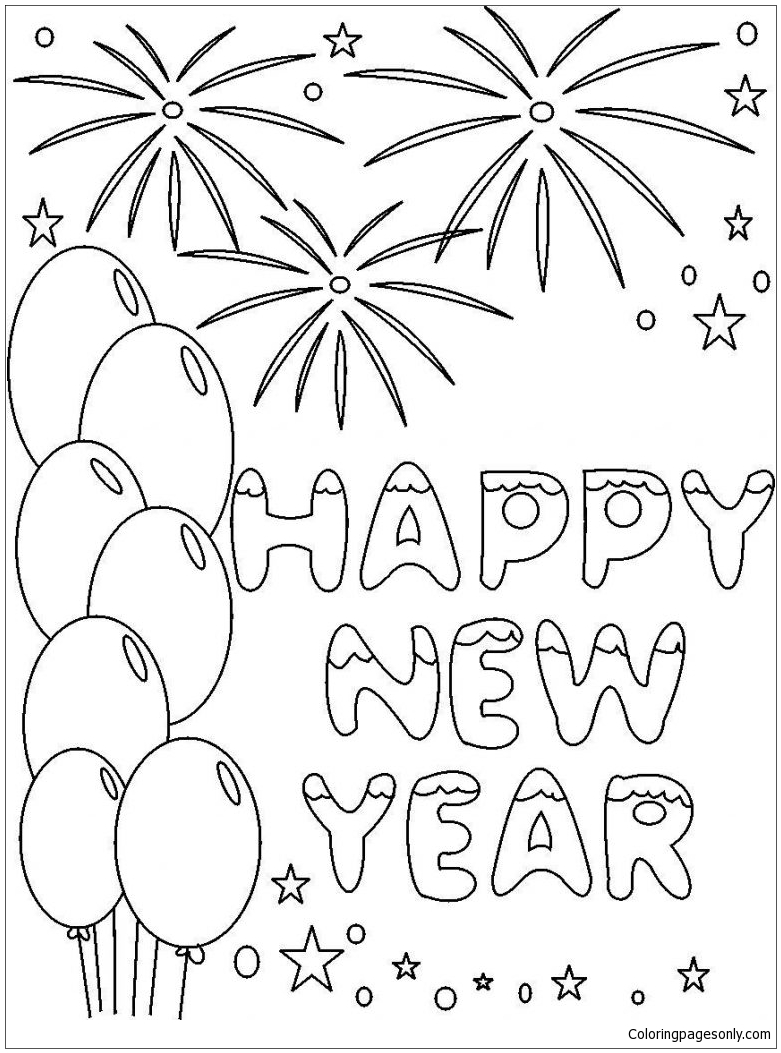On New Year 2018 Coloring Page