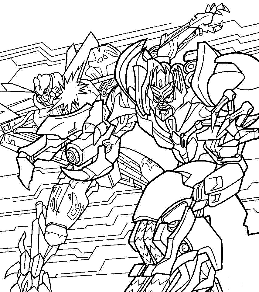 Optimus And Megatron Fighting Coloring Page