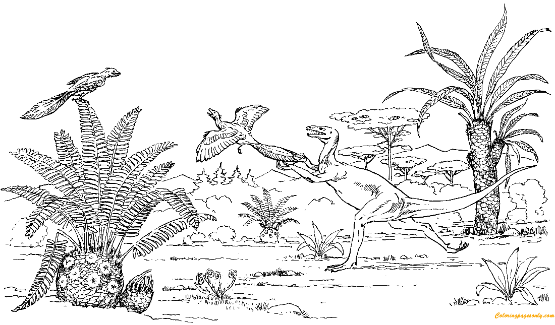 Ornitholestes Chasing Archaeopteryx Coloring Page