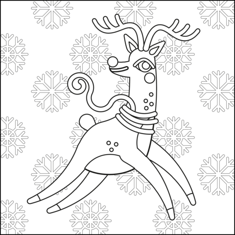 Our Christmas Reindeer Coloring Page