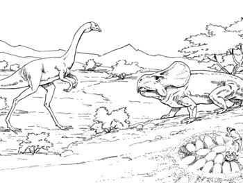 Oviraptor Approaching Protoceratops Nest With Eggs