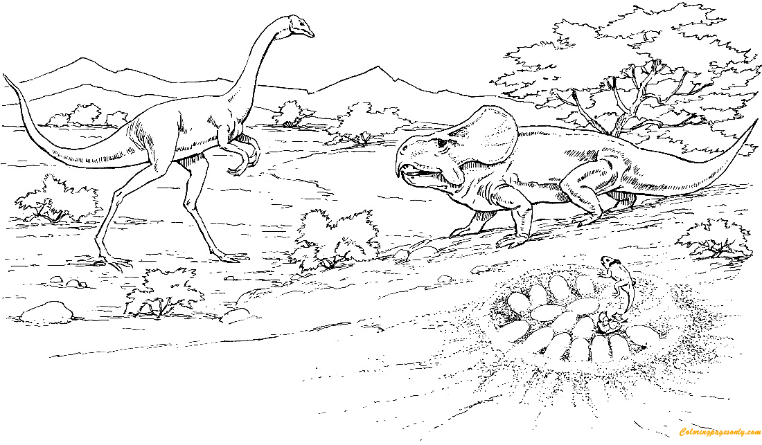 Oviraptor Approaching Protoceratops Nest With Eggs Coloring Page