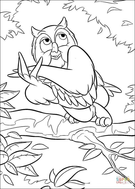 Owl  from Bambi Coloring Pages