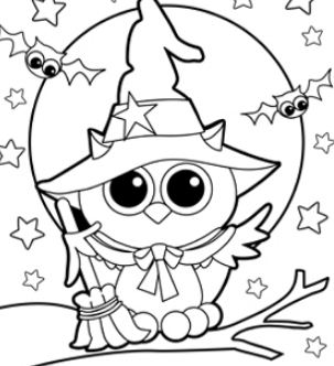 Owl Witch Coloring Page