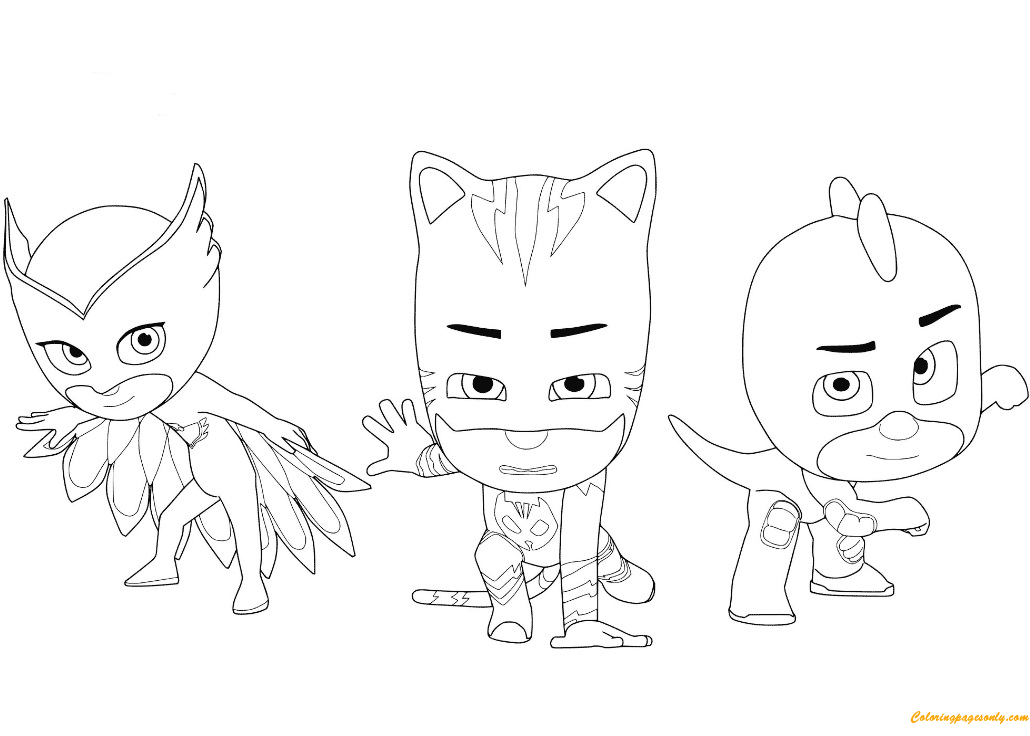 owlette catboy and gecko from pj masks coloring page - Gecko Coloring Pages
