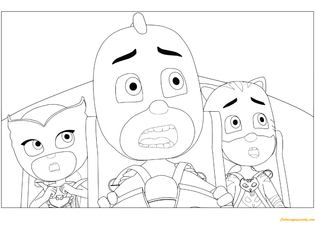 Owlette, Gekko And Catboy From PJ Masks Coloring Page