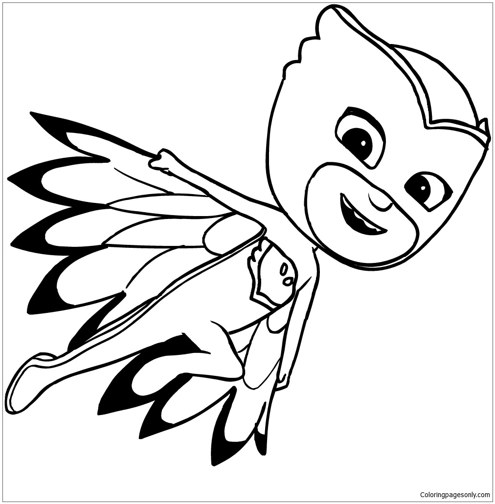 Owlette of pj masks coloring page free coloring pages online for Stampe da colorare spiderman