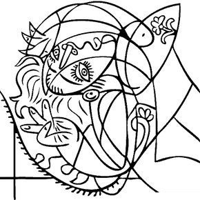 Pablo Picasso - Girl on a Pillow Coloring Page
