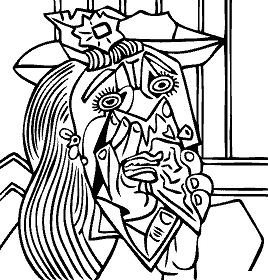 Pablo Picasso - Weeping Woman with Handkerchief Coloring Page