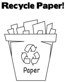 Paper Recycling Bin Coloring Page