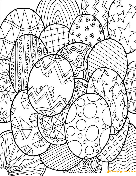Patterns Of Easter Eggs Coloring Page