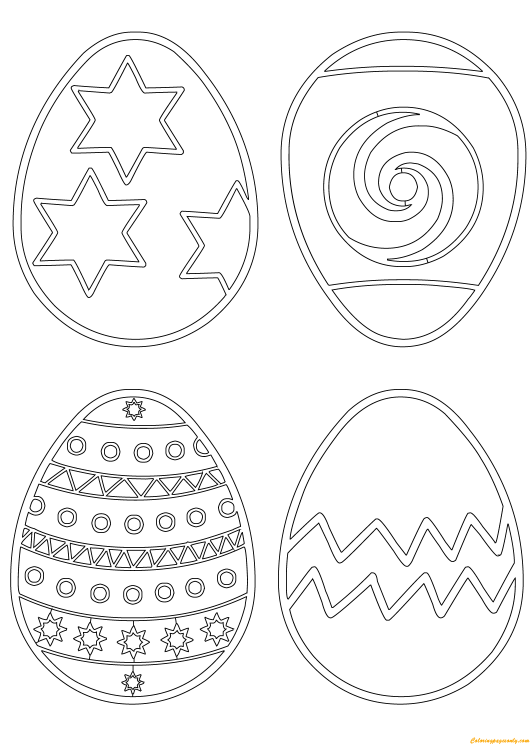 Patterns On Easter Eggs Coloring Page Free Coloring