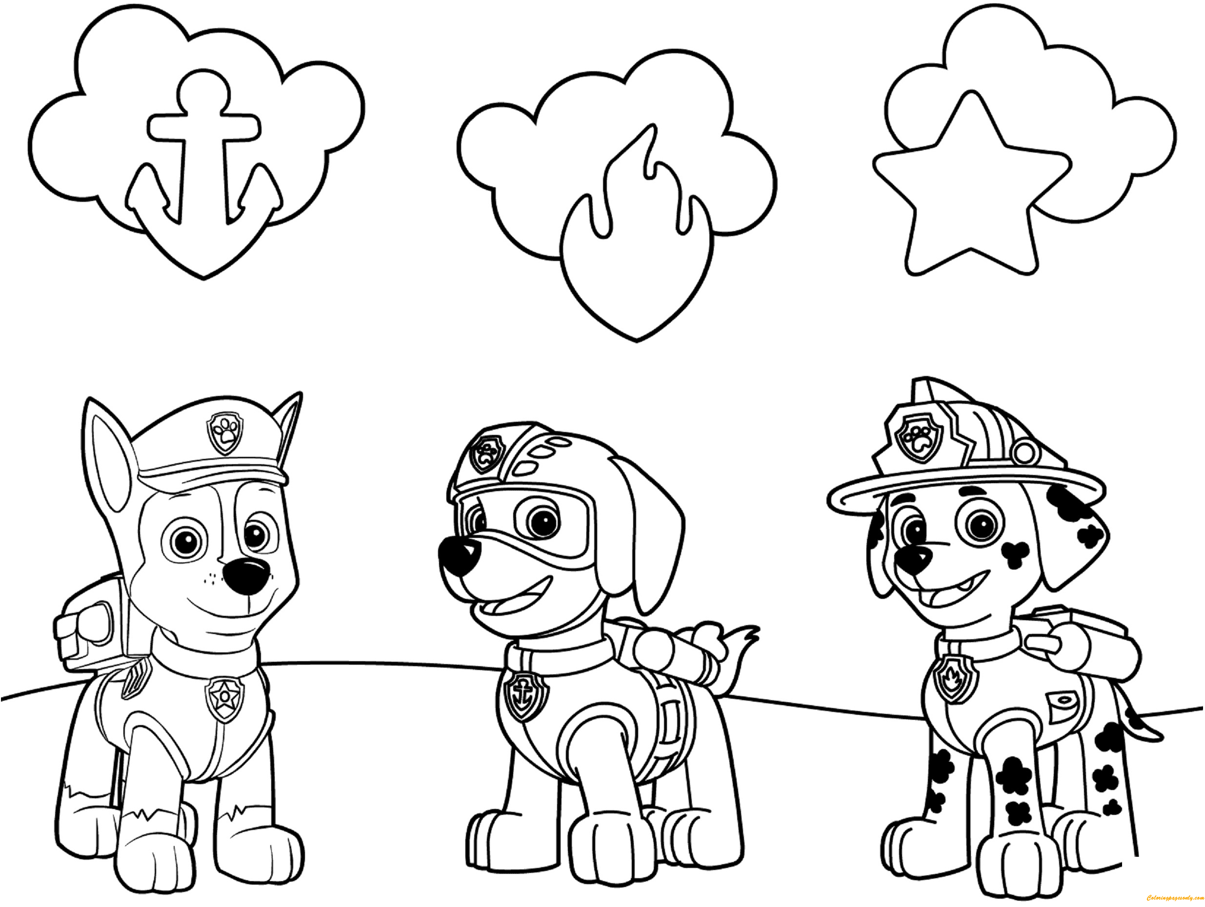 Paw Patrol Coloring Pages Aspca : Paw patrol badges coloring page free pages online
