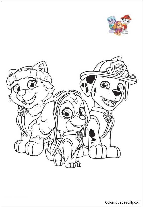 Paw Patrol Characters 2 Coloring Page