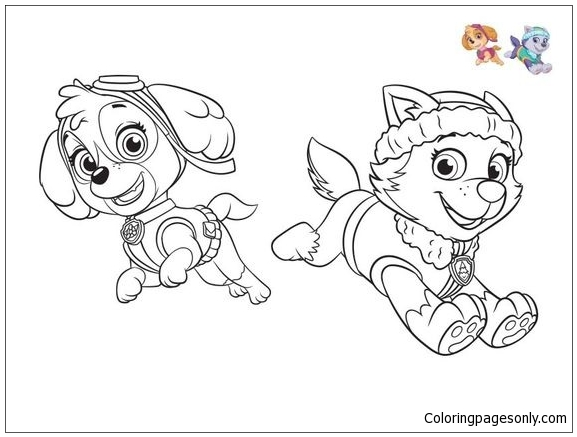 Paw Patrol Characters 3 Coloring Page