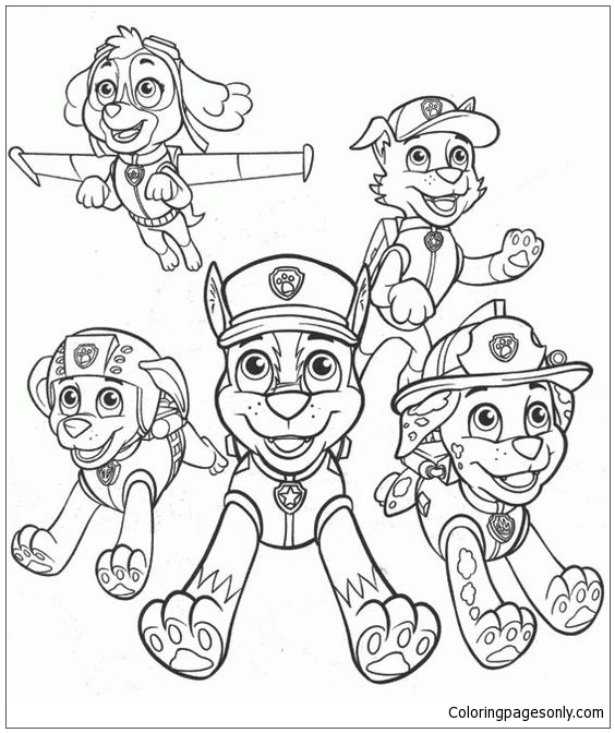 Paw Patrol Characters 4 Coloring Page