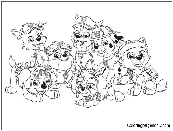 Paw Patrol Ausmalbilder Malvorlagen In Free Printable Coloring Pages: Paw Patrol Characters Coloring Page