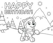 Paw Patrol Chase Happy Birthday Coloring Page