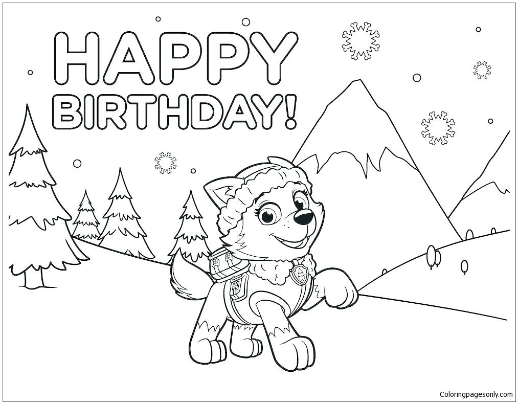 Paw Patrol Chase Happy Birthday Coloring Page - Free ...