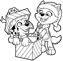 Paw Patrol Christmas Gifts Coloring Page
