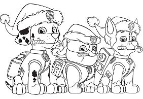 Paw Patrol Christmas Party Coloring Page