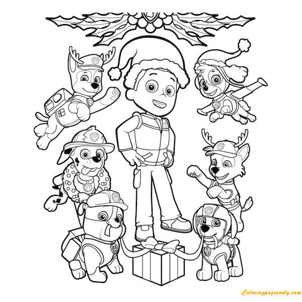 Paw Patrol Christmas Ryder Coloring Page - Free Coloring ...