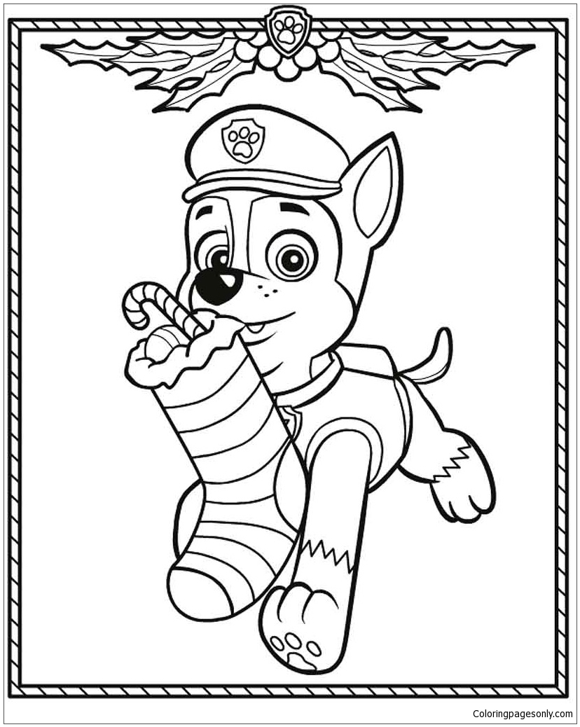Paw Patrol Christmas Coloring Page