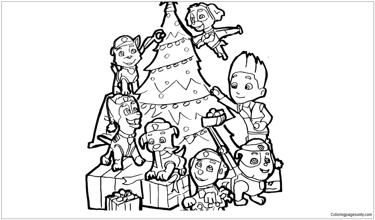 Paw Patrol Christmas Coloring Pages | Coloringnori ...