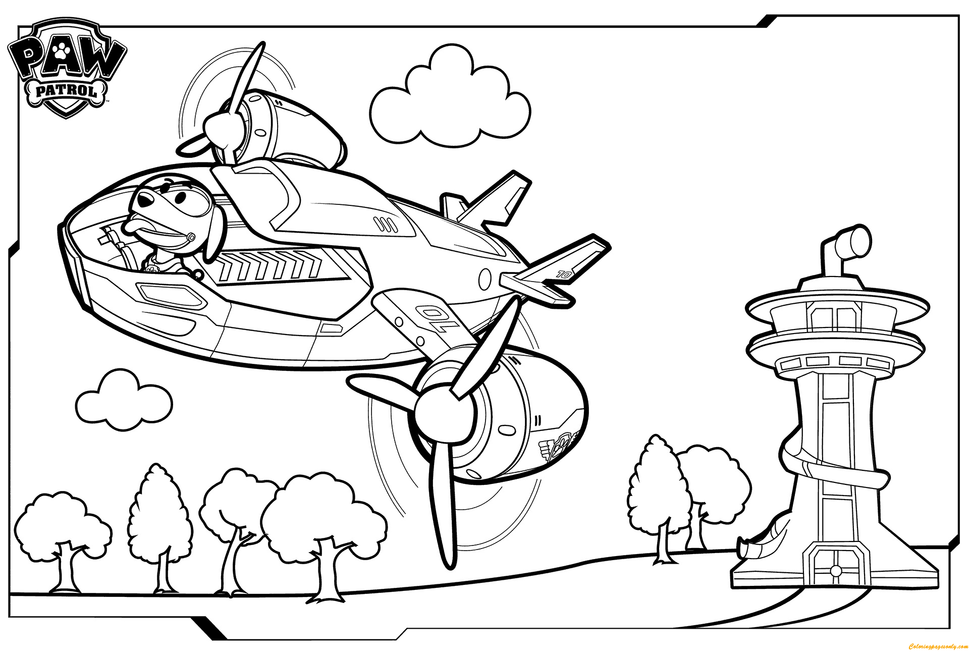 Paw Patrol Flying Coloring Page