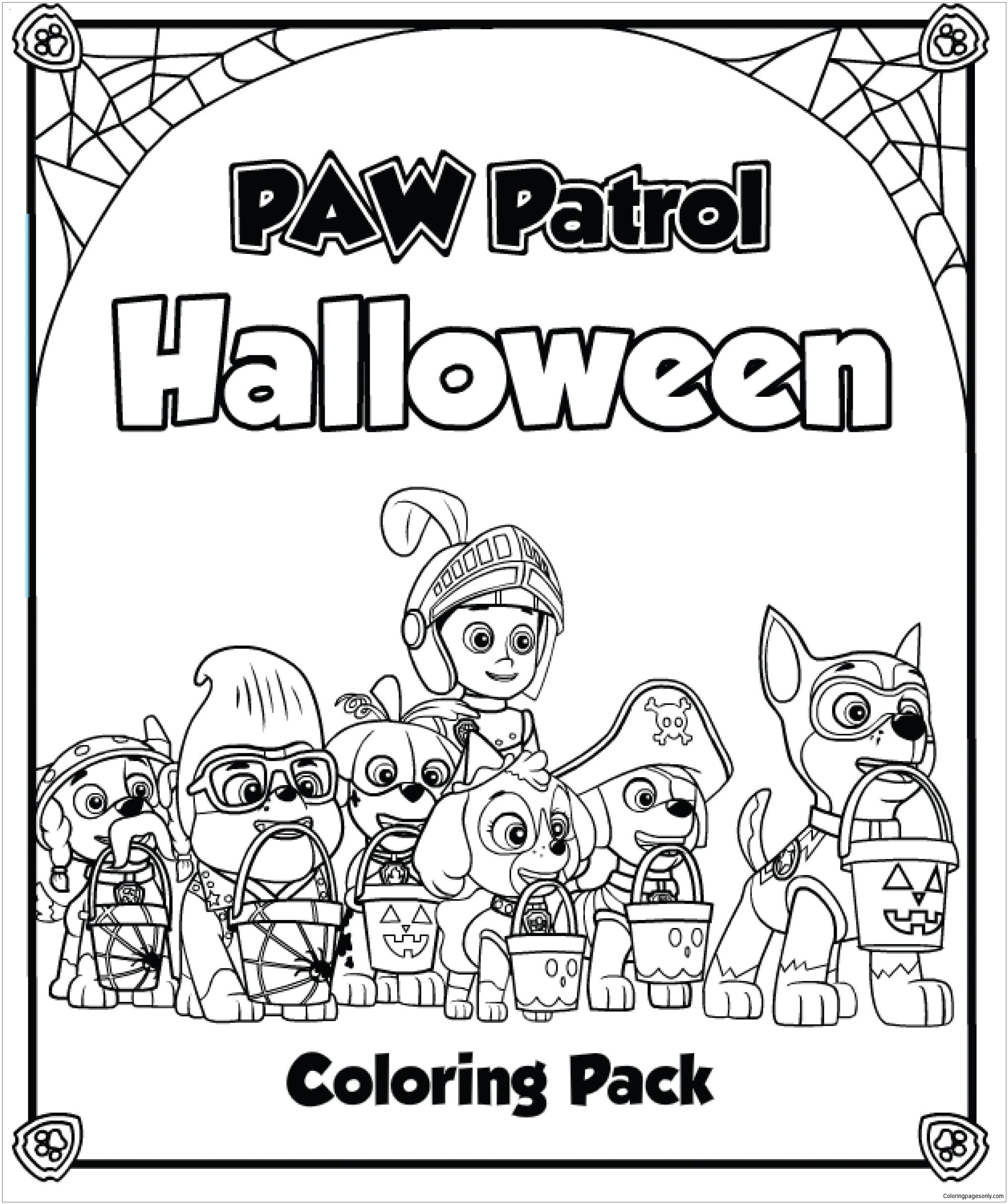 coloring pages for girls halloween - paw patrol halloween 2 coloring page free coloring pages