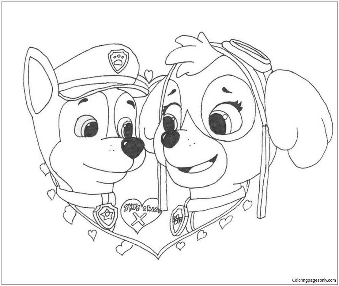 Paw Patrol In Valentines Day 1 Coloring Page Free