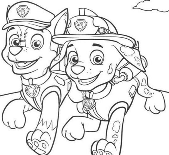 Paw Patrol Marshall And Chase Coloring Page