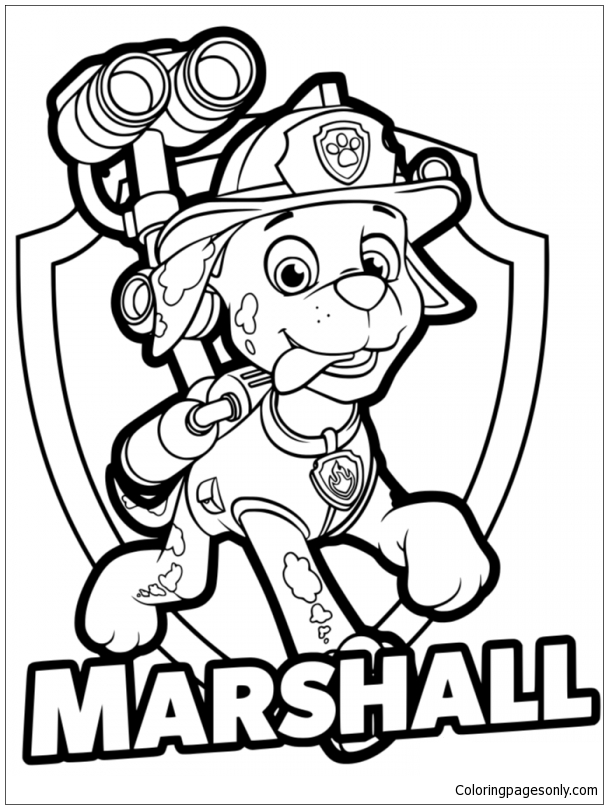 - Paw Patrol Marshall Badge Coloring Page - Free Coloring Pages Online